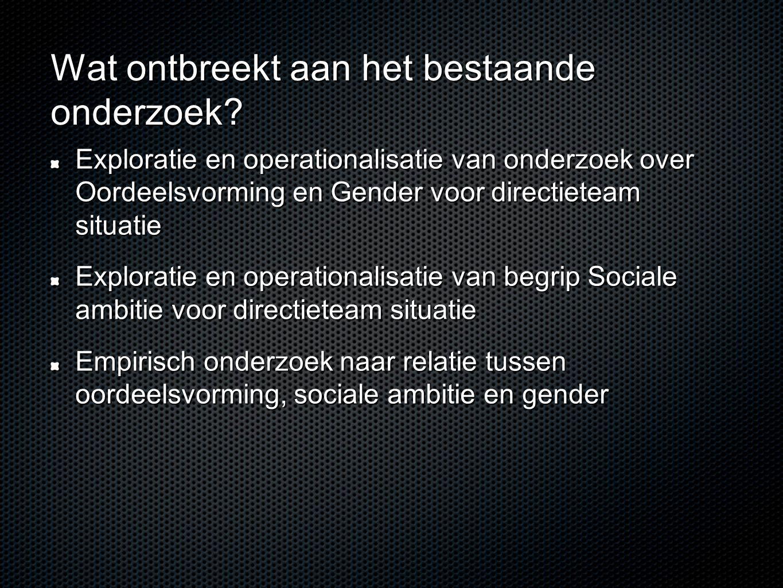 Wat ontbreekt aan het bestaande onderzoek? Exploratie en operationalisatie van onderzoek over Oordeelsvorming en Gender voor directieteam situatie Exp
