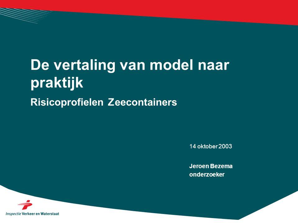 14 oktober 2003 Risicoprofielen Zeecontainers De vertaling van model naar praktijk Jeroen Bezema onderzoeker