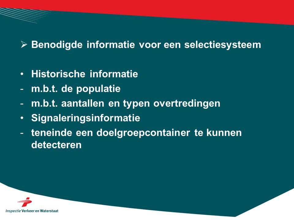  Benodigde informatie voor een selectiesysteem •Historische informatie -m.b.t.