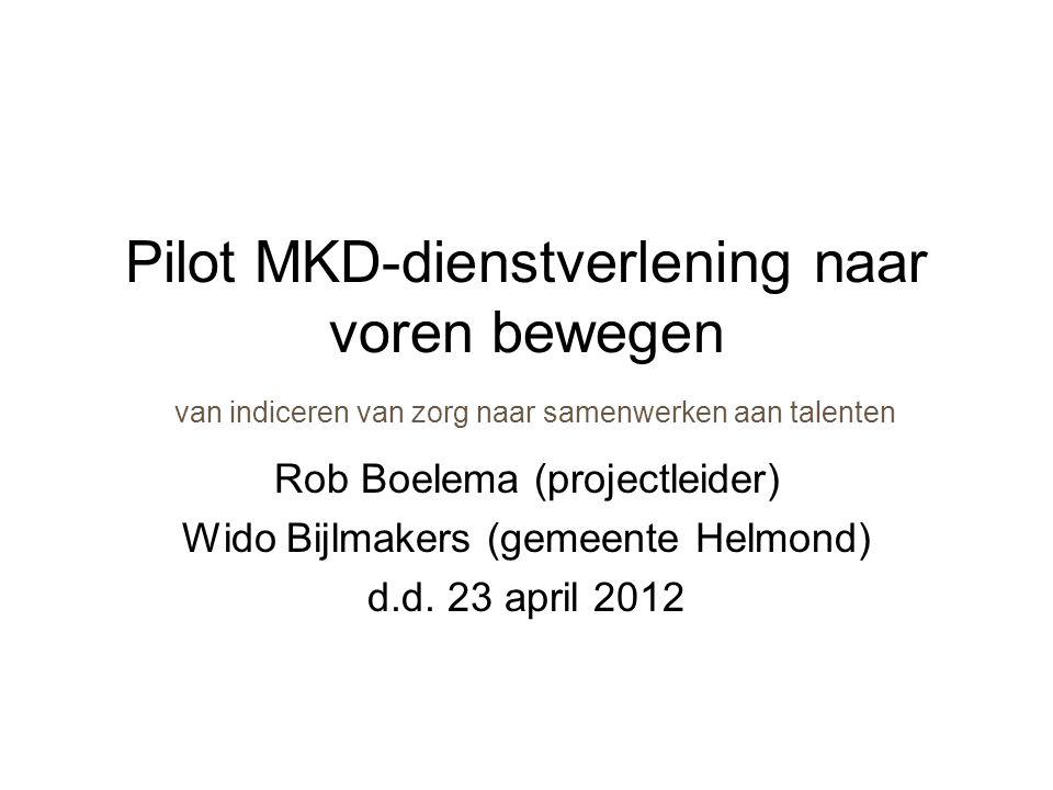 Pilot MKD-dienstverlening naar voren bewegen van indiceren van zorg naar samenwerken aan talenten Rob Boelema (projectleider) Wido Bijlmakers (gemeente Helmond) d.d.