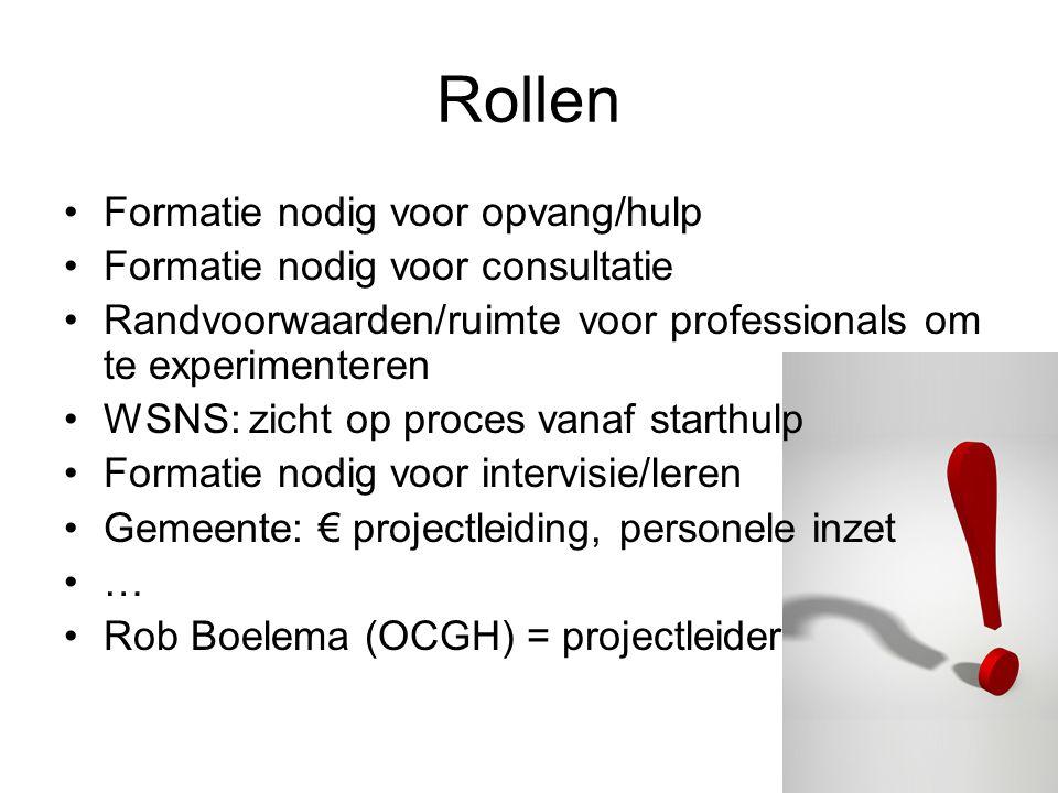 Stuurgroep - Gemeente (Wido en Inge) -WSNS (…….) -Combinatie (Wil) -Spring (Ellen) -projectleider Werkgroep dienstverlening -Spring Pedagoog (+ x professionals) -Onderwijs (zelf bepalen hoe te organiseren)(+ x professionals) -MKD Rieja (+ x professionals) -projectleider Werkgroep toeleiding -Consultatieburau -CJG -MEE Ouders (zijn cruciaal voor uitvoering/ toestemming) intervisie De projectorganisatie