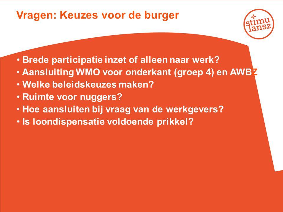 Vragen: Keuzes voor de burger • Brede participatie inzet of alleen naar werk? • Aansluiting WMO voor onderkant (groep 4) en AWBZ? • Welke beleidskeuze