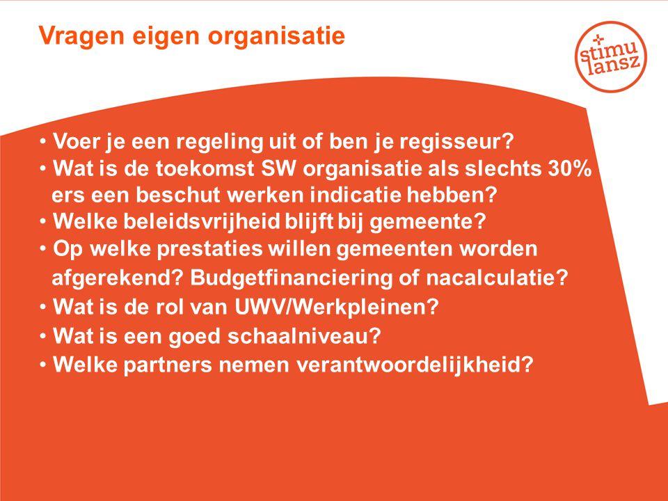 Vragen eigen organisatie • Voer je een regeling uit of ben je regisseur? • Wat is de toekomst SW organisatie als slechts 30% SW- ers een beschut werke