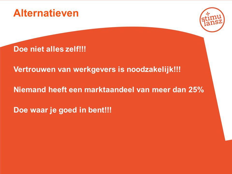 Alternatieven Doe niet alles zelf!!! Vertrouwen van werkgevers is noodzakelijk!!! Niemand heeft een marktaandeel van meer dan 25% Doe waar je goed in