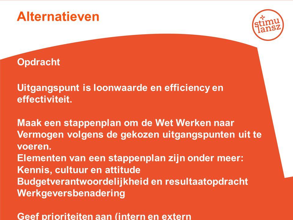 Alternatieven Opdracht Uitgangspunt is loonwaarde en efficiency en effectiviteit. Maak een stappenplan om de Wet Werken naar Vermogen volgens de gekoz