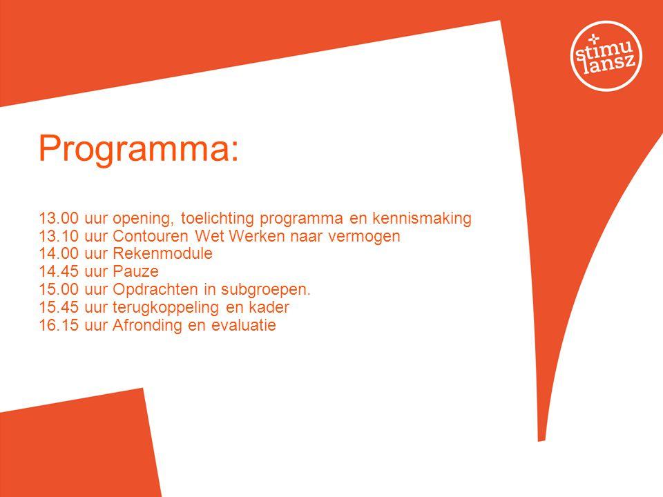 Programma: 13.00 uur opening, toelichting programma en kennismaking 13.10 uur Contouren Wet Werken naar vermogen 14.00 uur Rekenmodule 14.45 uur Pauze