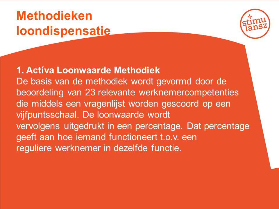 Methodieken loondispensatie 1. Actíva Loonwaarde Methodiek De basis van de methodiek wordt gevormd door de beoordeling van 23 relevante werknemercompe