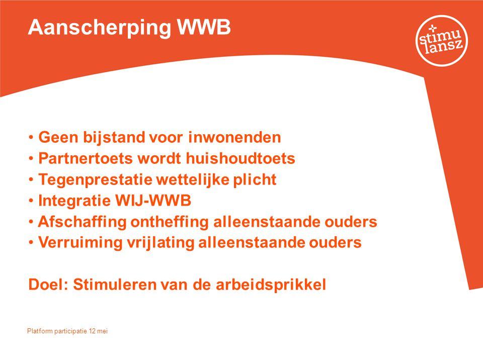 Aanscherping WWB • Geen bijstand voor inwonenden • Partnertoets wordt huishoudtoets • Tegenprestatie wettelijke plicht • Integratie WIJ-WWB • Afschaff