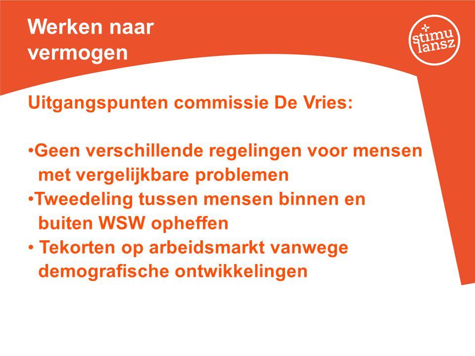 Werken naar vermogen Uitgangspunten commissie De Vries: •Geen verschillende regelingen voor mensen met vergelijkbare problemen •Tweedeling tussen mens