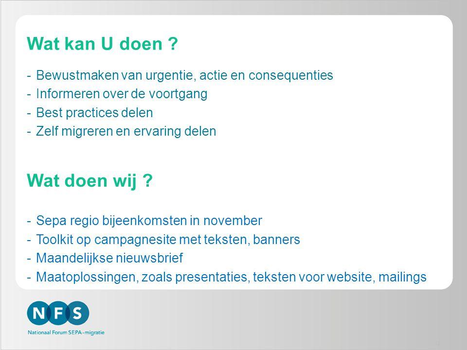Wat kan U doen ? -Bewustmaken van urgentie, actie en consequenties -Informeren over de voortgang -Best practices delen -Zelf migreren en ervaring dele