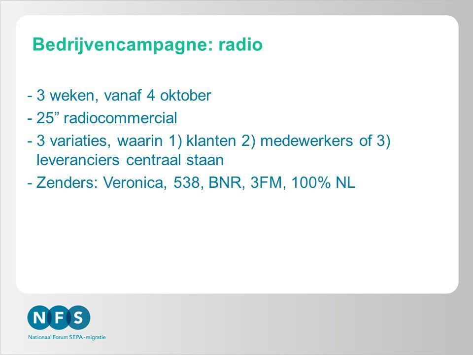 Bedrijvencampagne: radio -3 weken, vanaf 4 oktober -25 radiocommercial -3 variaties, waarin 1) klanten 2) medewerkers of 3) leveranciers centraal staan -Zenders: Veronica, 538, BNR, 3FM, 100% NL