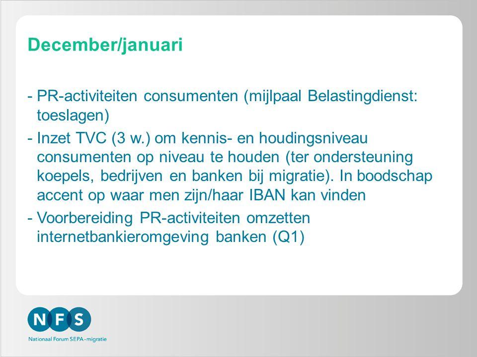 December/januari -PR-activiteiten consumenten (mijlpaal Belastingdienst: toeslagen) -Inzet TVC (3 w.) om kennis- en houdingsniveau consumenten op niveau te houden (ter ondersteuning koepels, bedrijven en banken bij migratie).