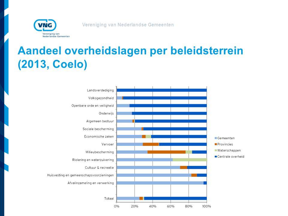 Vereniging van Nederlandse Gemeenten Aandeel overheidslagen per beleidsterrein (2013, Coelo)