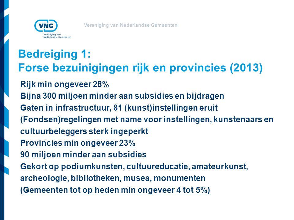 Vereniging van Nederlandse Gemeenten Bedreiging 1: Forse bezuinigingen rijk en provincies (2013) Rijk min ongeveer 28% Bijna 300 miljoen minder aan su