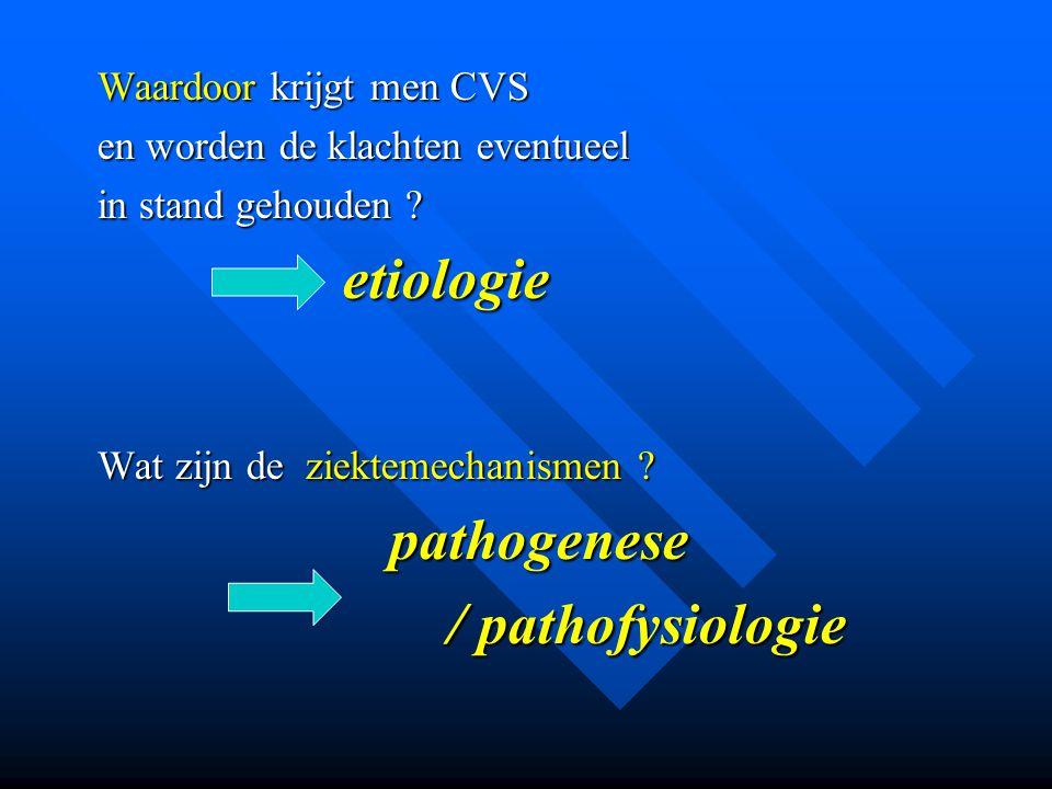 Waardoor krijgt men CVS en worden de klachten eventueel in stand gehouden ? etiologie etiologie Wat zijn de ziektemechanismen ? pathogenese pathogenes