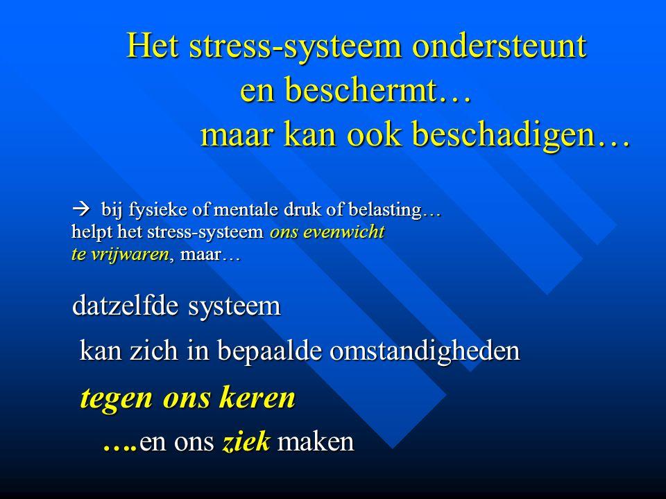 Het stress-systeem ondersteunt en beschermt… maar kan ook beschadigen…  bij fysieke of mentale druk of belasting… helpt het stress-systeem ons evenwi