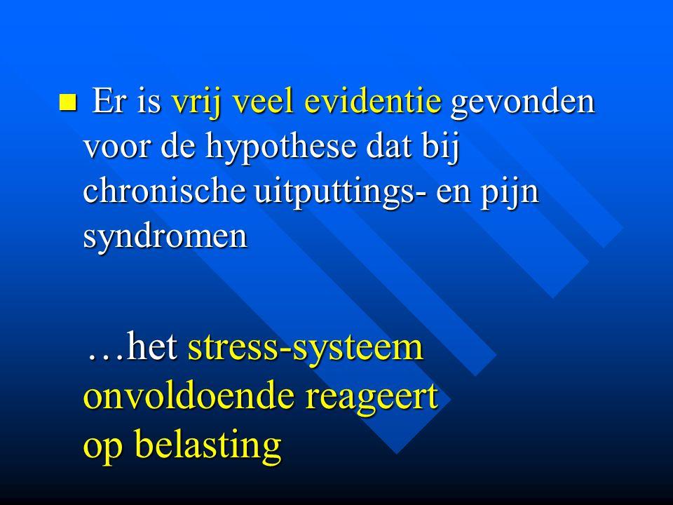  Er is vrij veel evidentie gevonden voor de hypothese dat bij chronische uitputtings- en pijn syndromen …het stress-systeem onvoldoende reageert op b