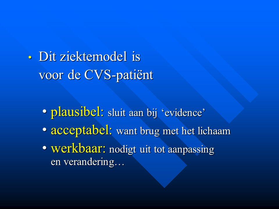 • Dit ziektemodel is voor de CVS-patiënt voor de CVS-patiënt • plausibel: sluit aan bij 'evidence' • acceptabel: want brug met het lichaam • werkbaar: