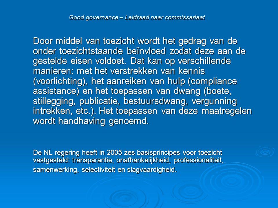 Good governance – Leidraad naar commissariaat Door middel van toezicht wordt het gedrag van de onder toezichtstaande beïnvloed zodat deze aan de gestelde eisen voldoet.