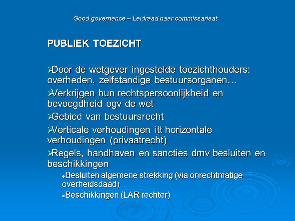 Good governance – Leidraad naar commissariaat PUBLIEK TOEZICHT  Door de wetgever ingestelde toezichthouders: overheden, zelfstandige bestuursorganen…