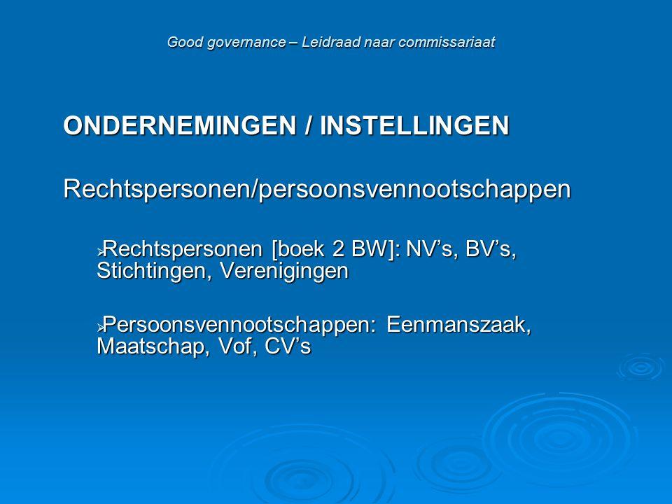 Good governance – Leidraad naar commissariaat ONDERNEMINGEN / INSTELLINGEN Rechtspersonen/persoonsvennootschappen  Rechtspersonen [boek 2 BW]: NV's,