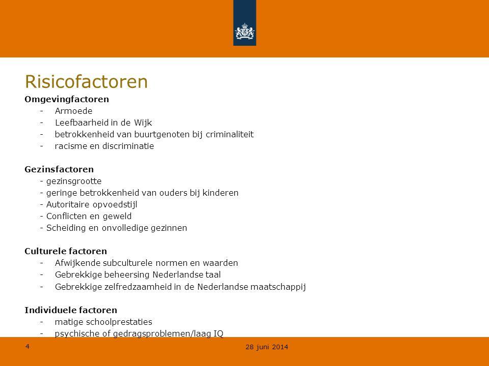 4 Risicofactoren Omgevingfactoren -Armoede -Leefbaarheid in de Wijk -betrokkenheid van buurtgenoten bij criminaliteit -racisme en discriminatie Gezinsfactoren - gezinsgrootte - geringe betrokkenheid van ouders bij kinderen - Autoritaire opvoedstijl - Conflicten en geweld - Scheiding en onvolledige gezinnen Culturele factoren -Afwijkende subculturele normen en waarden -Gebrekkige beheersing Nederlandse taal -Gebrekkige zelfredzaamheid in de Nederlandse maatschappij Individuele factoren -matige schoolprestaties -psychische of gedragsproblemen/laag IQ 28 juni 2014