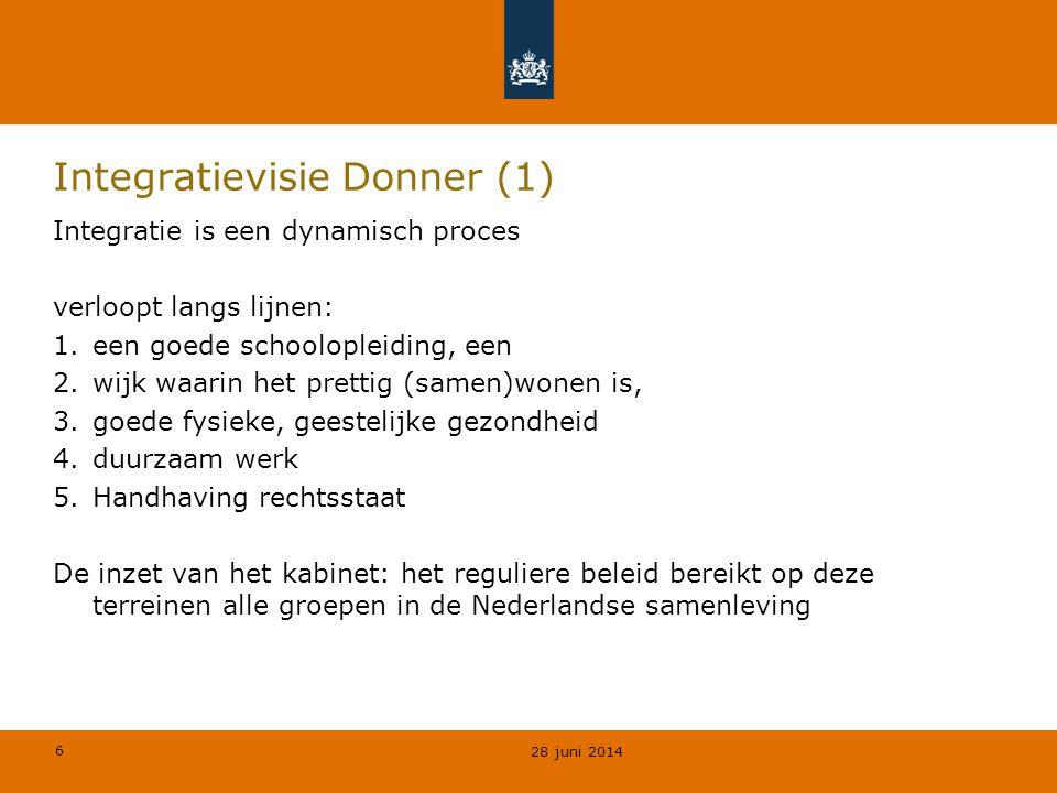 6 Integratievisie Donner (1) Integratie is een dynamisch proces verloopt langs lijnen: 1.een goede schoolopleiding, een 2.wijk waarin het prettig (samen)wonen is, 3.goede fysieke, geestelijke gezondheid 4.duurzaam werk 5.Handhaving rechtsstaat De inzet van het kabinet: het reguliere beleid bereikt op deze terreinen alle groepen in de Nederlandse samenleving 28 juni 2014