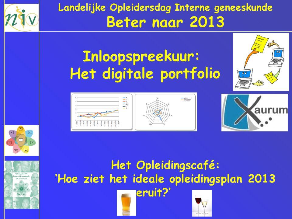 Landelijke Opleidersdag Interne geneeskunde Beter naar 2013 Inloopspreekuur: Het digitale portfolio Het Opleidingscafé: 'Hoe ziet het ideale opleidingsplan 2013 eruit?'
