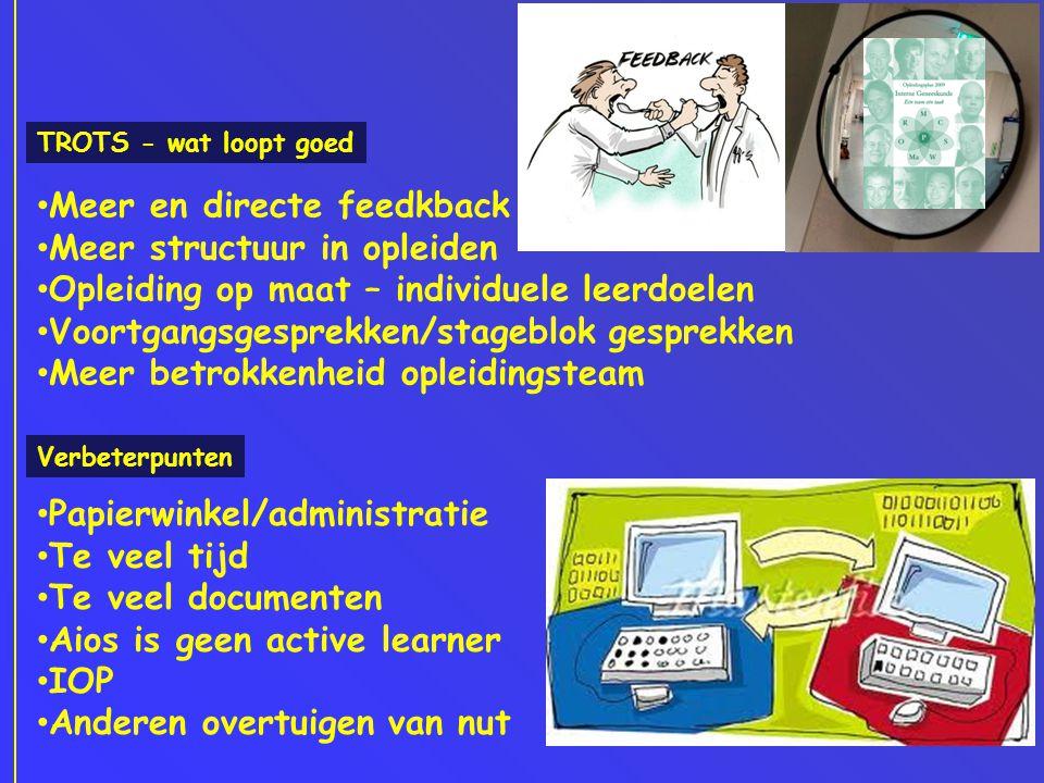 TROTS - wat loopt goed • Meer en directe feedkback • Meer structuur in opleiden • Opleiding op maat – individuele leerdoelen • Voortgangsgesprekken/st