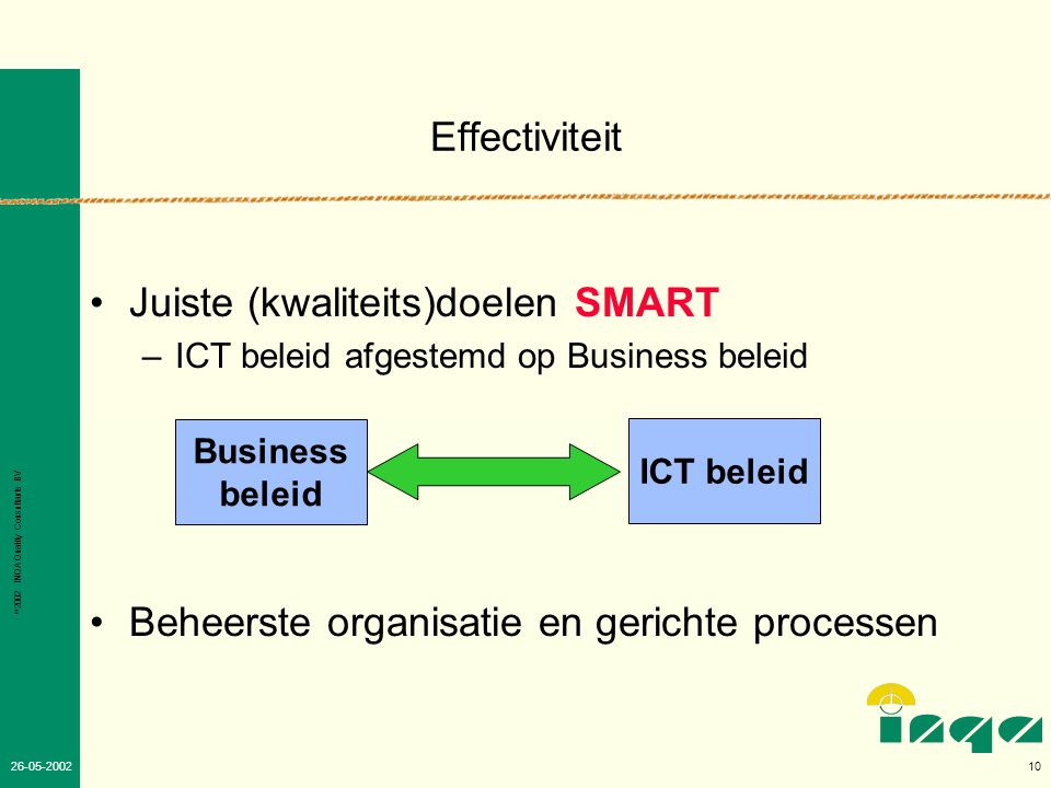 © 2002 INQA Quality Consultants BV 9 26-05-2002 Waarom toegevoegde waarde Business.