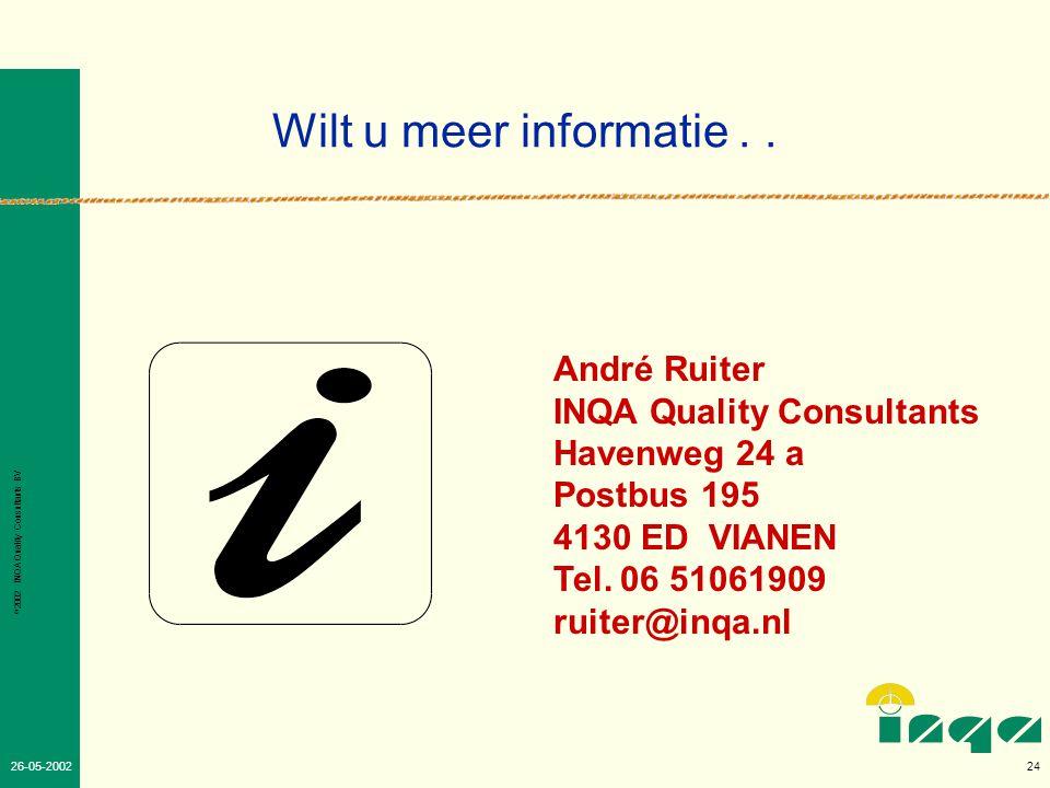 © 2002 INQA Quality Consultants BV 23 26-05-2002 Vragen en opmerkingen