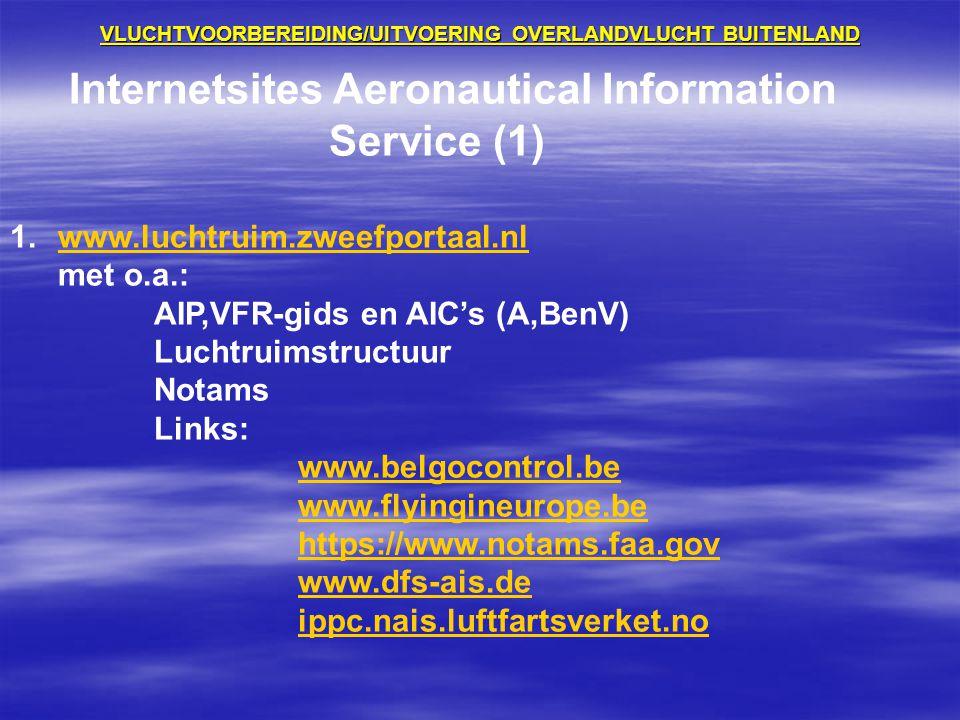 VLUCHTVOORBEREIDING/UITVOERING OVERLANDVLUCHT BUITENLAND Internetsites Aeronautical Information Service (1) 1.www.luchtruim.zweefportaal.nlwww.luchtru