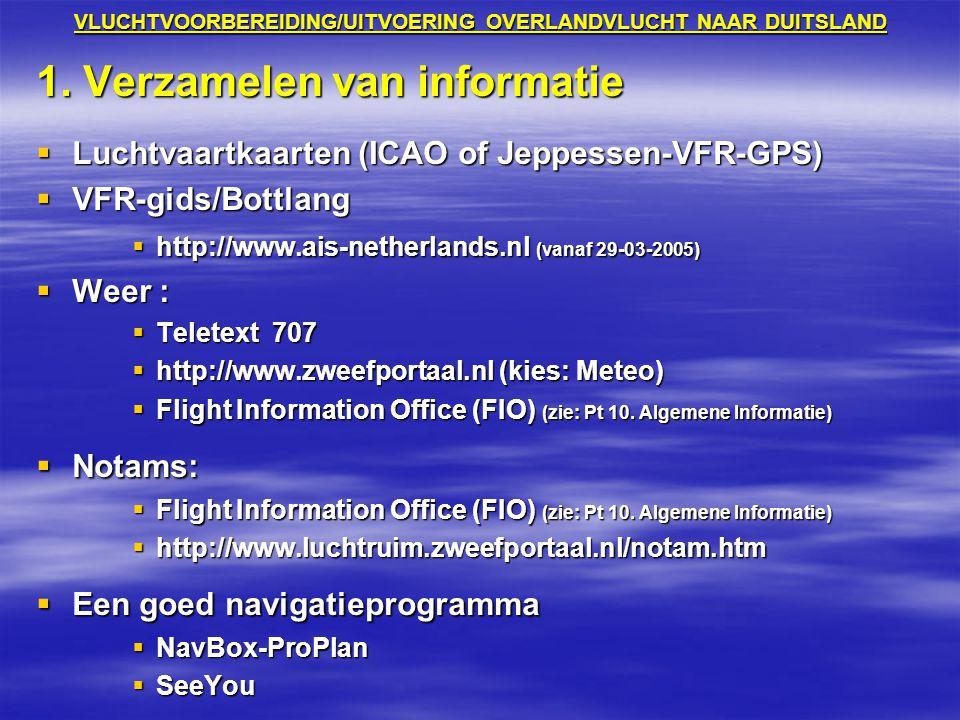 VLUCHTVOORBEREIDING/UITVOERING OVERLANDVLUCHT NAAR DUITSLAND 1. Verzamelen van informatie  Luchtvaartkaarten (ICAO of Jeppessen-VFR-GPS)  VFR-gids/B