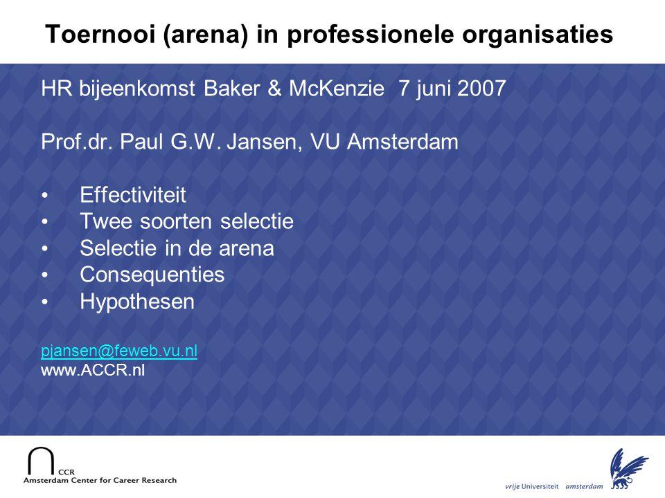 2 Topselectie: van effectiviteit naar succesvolheid succes • Niet alleen talent voor werk maar ook talent voor succes: de top halen • Wat bepaalt succesvolheid.