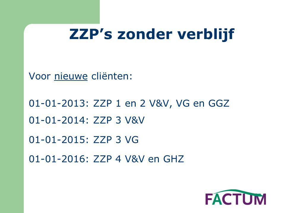ZZP's zonder verblijf Voor nieuwe cliënten: 01-01-2013: ZZP 1 en 2 V&V, VG en GGZ 01-01-2014: ZZP 3 V&V 01-01-2015: ZZP 3 VG 01-01-2016: ZZP 4 V&V en