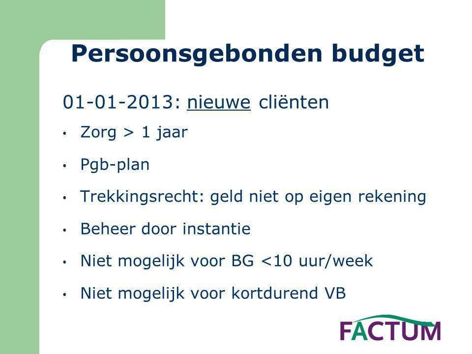 Persoonsgebonden budget 01-01-2013: nieuwe cliënten • Zorg > 1 jaar • Pgb-plan • Trekkingsrecht: geld niet op eigen rekening • Beheer door instantie •