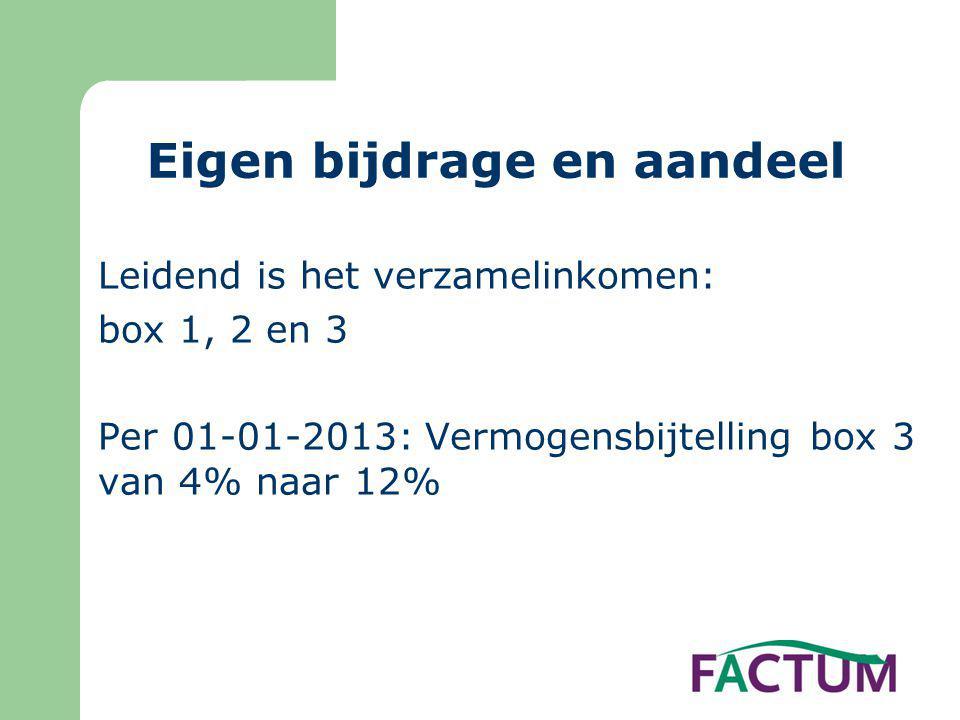 Eigen bijdrage en aandeel Leidend is het verzamelinkomen: box 1, 2 en 3 Per 01-01-2013: Vermogensbijtelling box 3 van 4% naar 12%