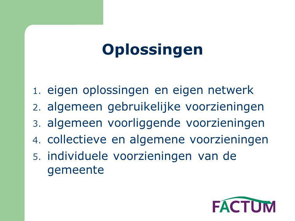 Oplossingen 1. eigen oplossingen en eigen netwerk 2. algemeen gebruikelijke voorzieningen 3. algemeen voorliggende voorzieningen 4. collectieve en alg