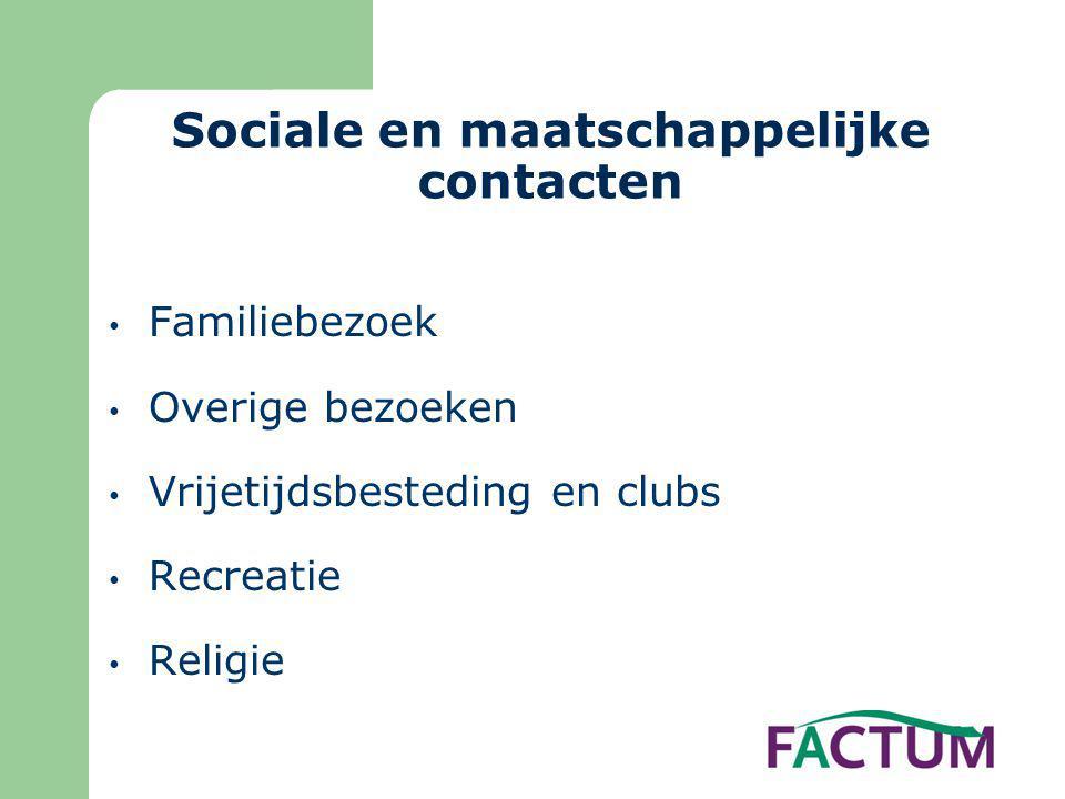 Sociale en maatschappelijke contacten • Familiebezoek • Overige bezoeken • Vrijetijdsbesteding en clubs • Recreatie • Religie