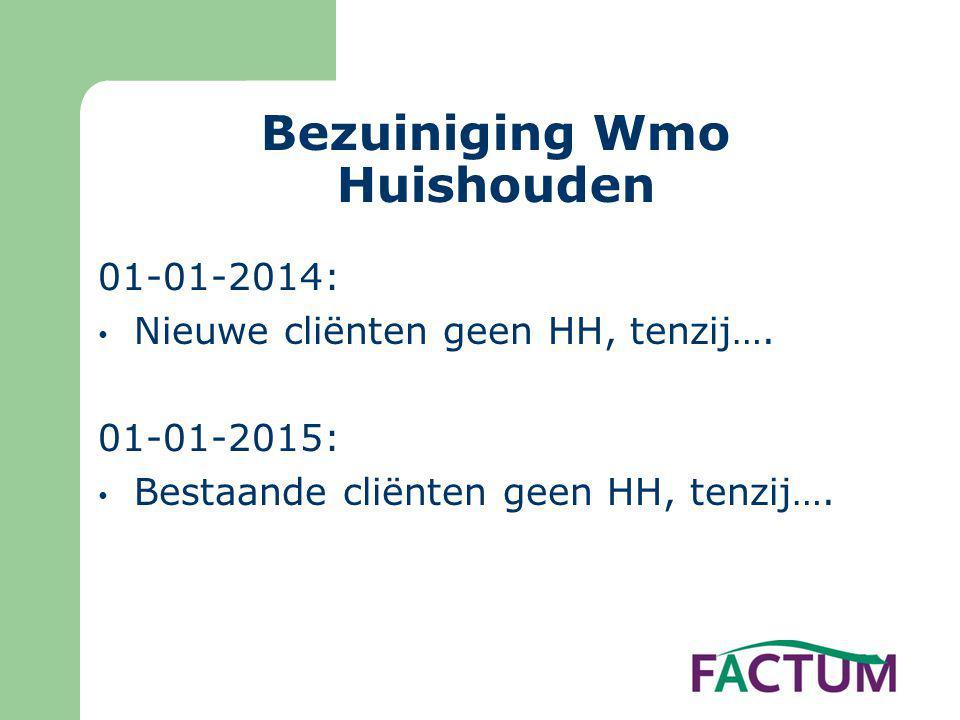 Bezuiniging Wmo Huishouden 01-01-2014: • Nieuwe cliënten geen HH, tenzij…. 01-01-2015: • Bestaande cliënten geen HH, tenzij….