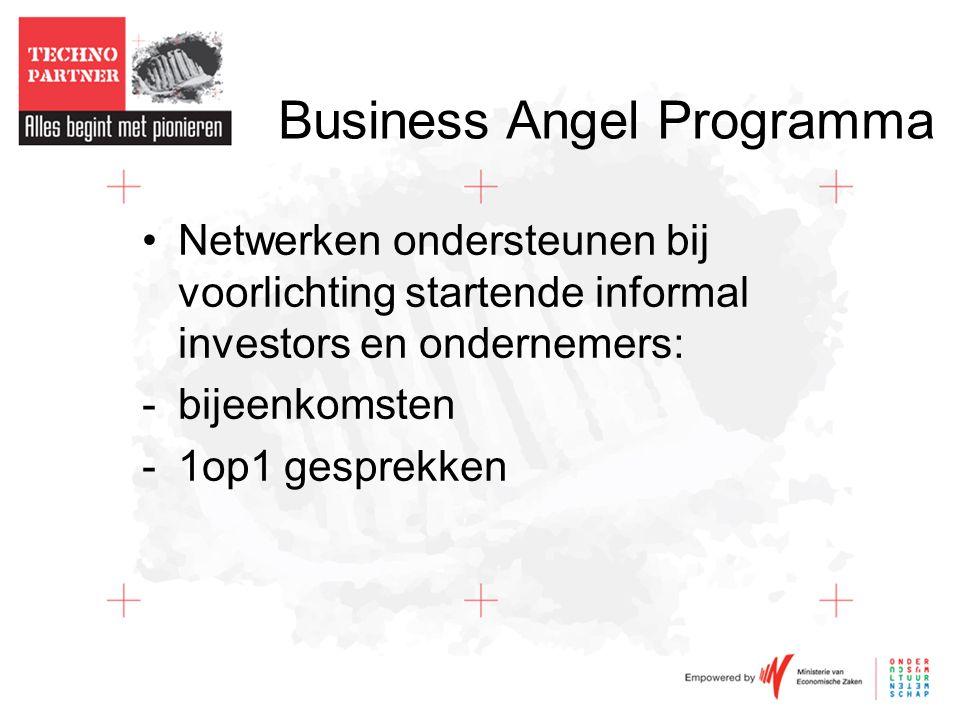 Business Angel Programma •Netwerken ondersteunen bij voorlichting startende informal investors en ondernemers: -bijeenkomsten -1op1 gesprekken