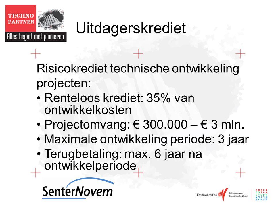 Uitdagerskrediet Risicokrediet technische ontwikkeling projecten: •Renteloos krediet: 35% van ontwikkelkosten •Projectomvang: € 300.000 – € 3 mln.