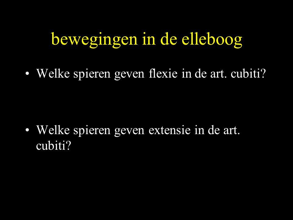 bewegingen in de elleboog •Welke spieren geven flexie in de art. cubiti? •Welke spieren geven extensie in de art. cubiti?