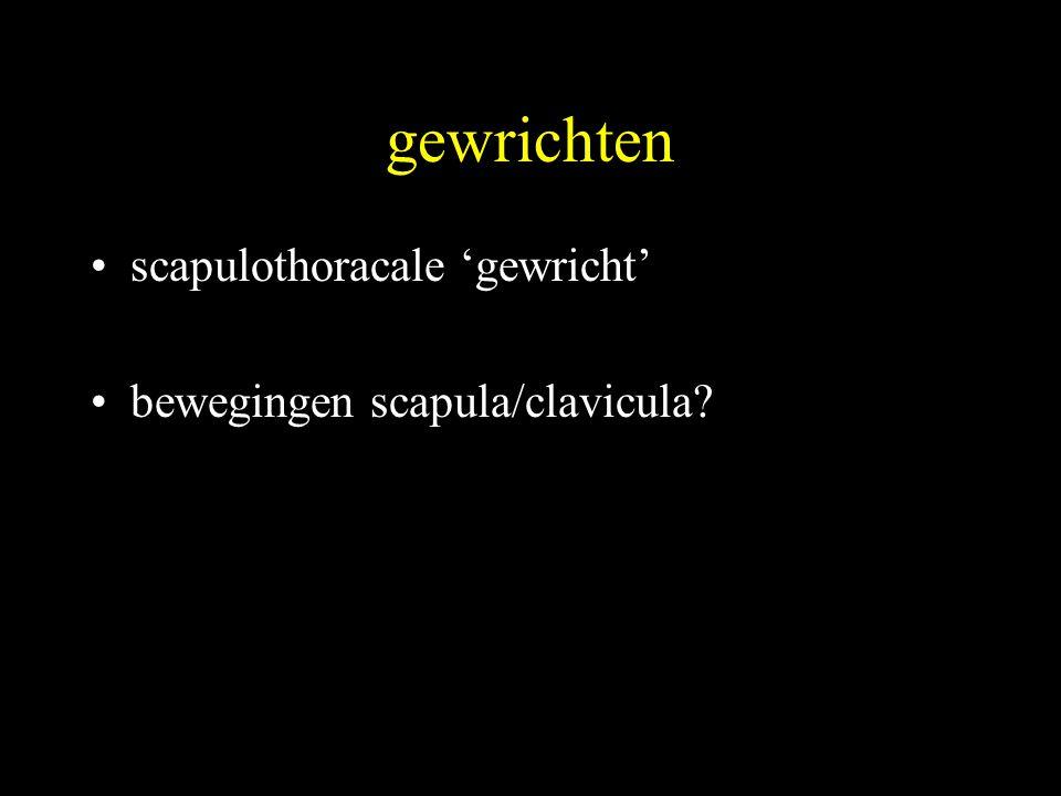 gewrichten •scapulothoracale 'gewricht' •bewegingen scapula/clavicula?