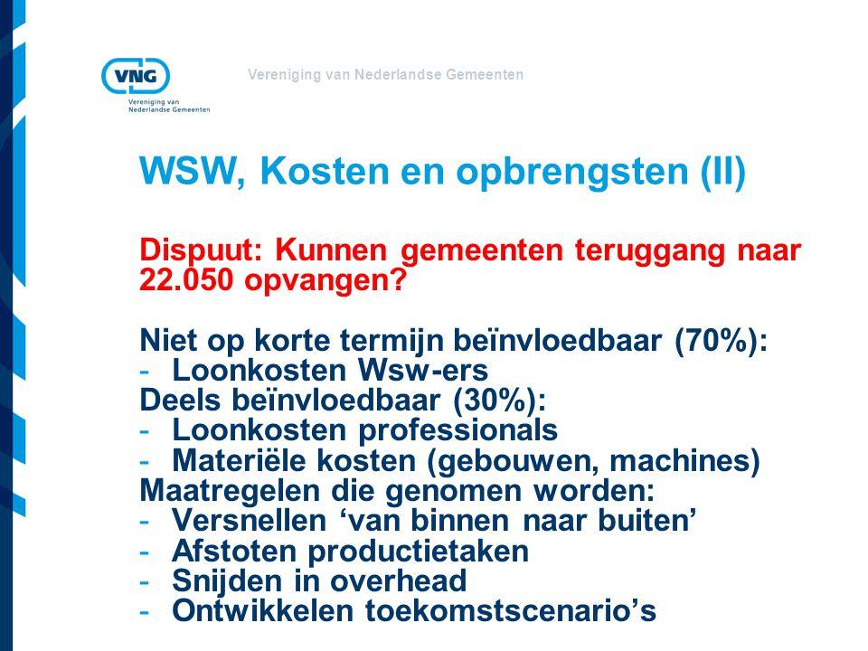 Vereniging van Nederlandse Gemeenten WSW, Kosten en opbrengsten (II) Dispuut: Kunnen gemeenten teruggang naar 22.050 opvangen.