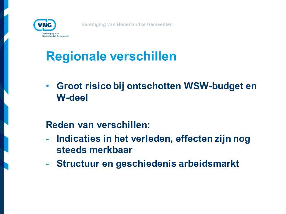 Vereniging van Nederlandse Gemeenten Regionale verschillen •Groot risico bij ontschotten WSW-budget en W-deel Reden van verschillen: -Indicaties in het verleden, effecten zijn nog steeds merkbaar -Structuur en geschiedenis arbeidsmarkt