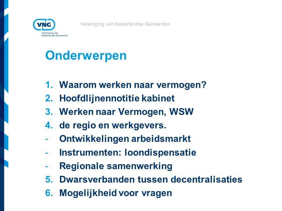 Vereniging van Nederlandse Gemeenten 1.Waarom Werken naar Vermogen.