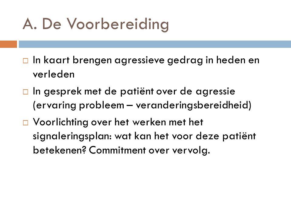 A. De Voorbereiding  In kaart brengen agressieve gedrag in heden en verleden  In gesprek met de patiënt over de agressie (ervaring probleem – verand
