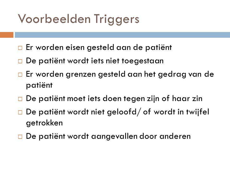 Voorbeelden Triggers  Er worden eisen gesteld aan de patiënt  De patiënt wordt iets niet toegestaan  Er worden grenzen gesteld aan het gedrag van d