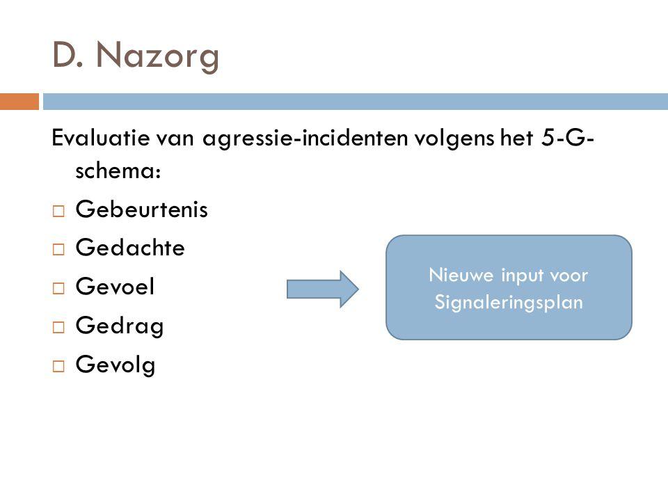 D. Nazorg Evaluatie van agressie-incidenten volgens het 5-G- schema:  Gebeurtenis  Gedachte  Gevoel  Gedrag  Gevolg Nieuwe input voor Signalering